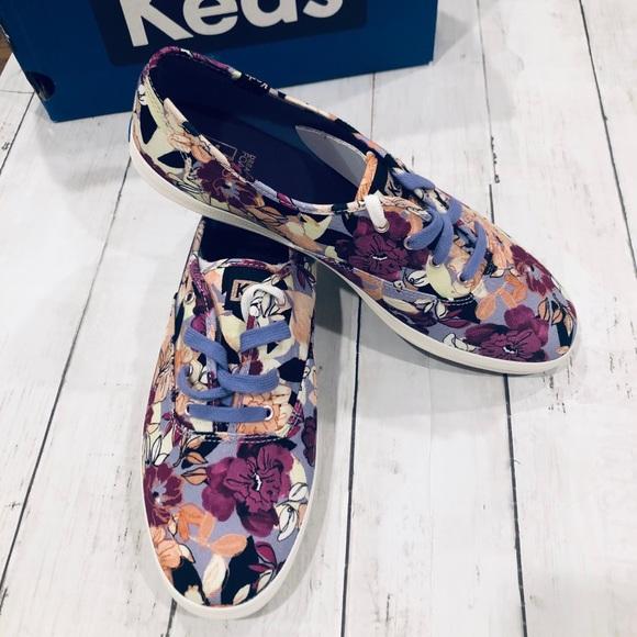 NIB Keds Champion Sneakers in Purple Floral Print